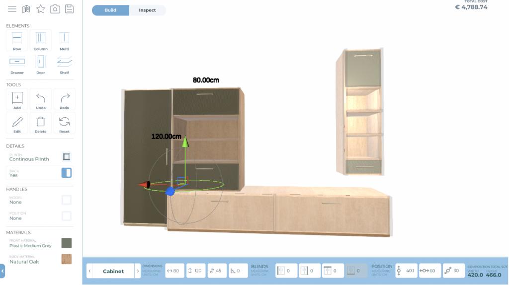 Wohnzimmerschrank mit dem Online Schrank Planer von MRegio.de erstellt