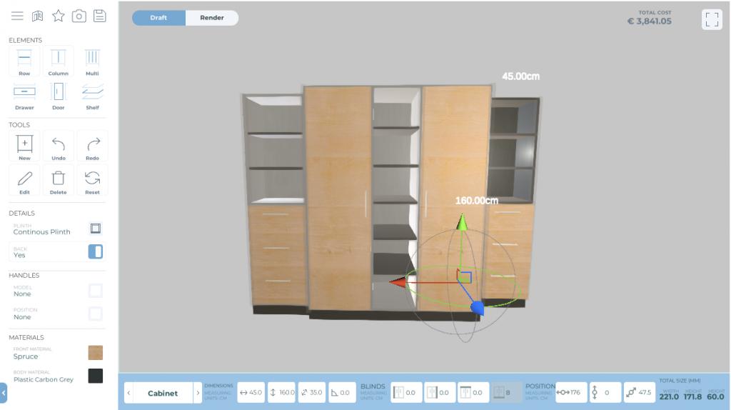 Ein Schrank geplant mit dem MRegio Internet Schrank Planer